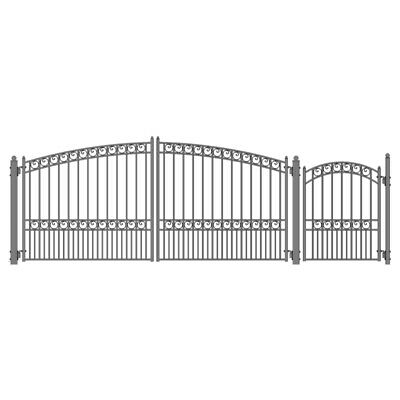ALEKO Paris Style Iron Wrought Dual Driveway Combo Gate 12' And Pedestrian Gate