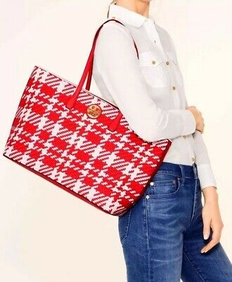 6654e50f8db  595 TORY BURCH Leather Duet Woven Tote Houndstooth Shoulder Bag Large Red  White
