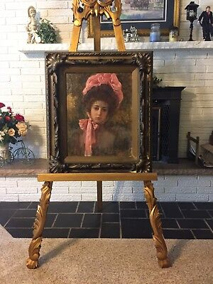 Antique Victorian Oil on Canvas Portrait of Young Lady by Joseph Gies Detroit MI