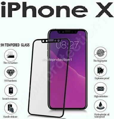 Tempered Glass Screen Protector For Apple iPhone X - 100% Genuine BLACK