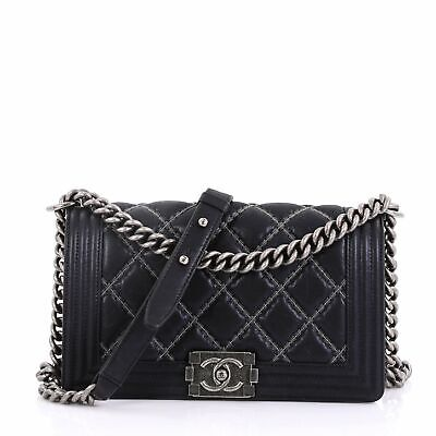 26ca6a5315c5 CHANEL DOUBLE STITCH Boy Flap Bag Quilted Calfskin Old Medium ...