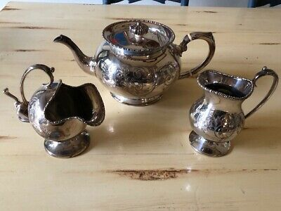 Magnificent Silver Plated Sheffield Tea Set Hand Engraved 1925 England