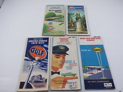 5 Vintage Gulf, Sonoco NEW ENGLAND Tour Guide Road Maps : 1950-1974