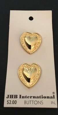 """2 Vintage 7/8"""" JHB Realistic Novelty Figural Gold Tone Metal Heart Buttons"""