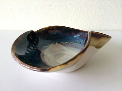 Vtg Mid Century Studio Art Pottery Abstract Glazed Ceramic Vessel Bowl Signed