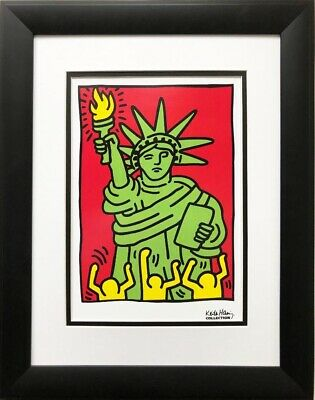 "Keith Haring ""Statue of Liberty, 1986"" (small) CUSTOM FRAMED  Art Lithograph USA"
