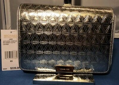 697cffdae0582b Leather Silver Michael Kors Gusset Clutch Purse Champagne Jade Handbag New/  Tags