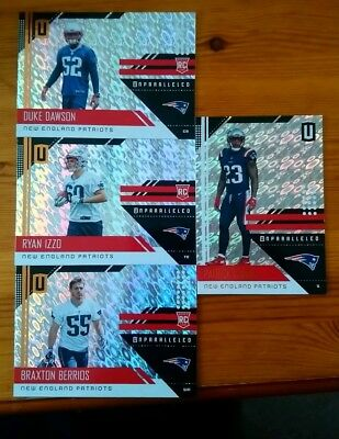 New England Patriots 2018 Panini Unparalleled Rookie Lot.