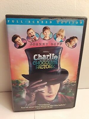 Charlie and the Chocolate Factory (DVD, 2005, Full Frame) Ex-Library Johnny Depp