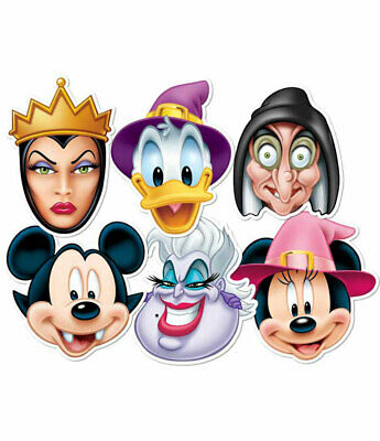 Mickey Mouse and Friends Halloween Official 2D Card Face Masks Variety Set of 6