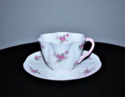 """Dainty Little Shelley Bone China """"Bridal Rose"""" Cup And Saucer Set"""