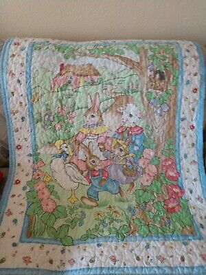 Vintage Nursery Childrens Wall Hanging Rabbit, Goose, Multi Color Quilted Fabric