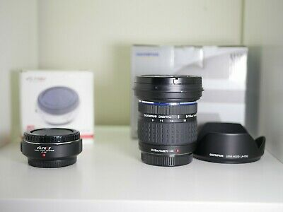 Olympus Zuiko ED 9-18mm F/4-5.6 Lens with 43-M43 adapter MFT Excellent Condition