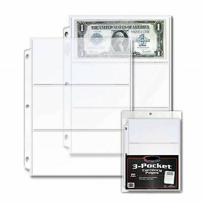 3 Pocket Currency 20 Pages Protector Binder Albums Paper Money Dollar Bill New