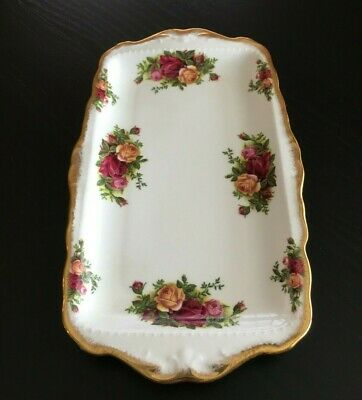 Royal Albert Old Country Roses Large Sandwich Tray with Gold Handles ENGLAND