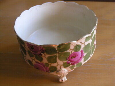 Antique Victorian Vienna Austria Signed 4 footed Bowl Planter Roses Leaves Gilt