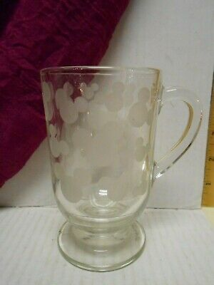 """Disney's Mickey Mouse Head Silhouette Etched  Clear Glass Coffee Mug 5"""" tall"""