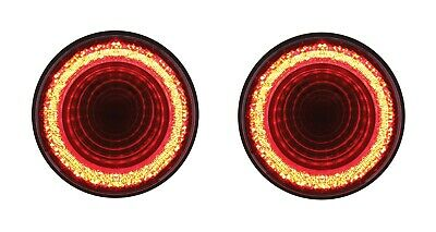 """Pair 4"""" Round LED """"MIRAGE"""" Stop, Turn & Tail Lights - Red LED/Red Lens - S/T/T"""