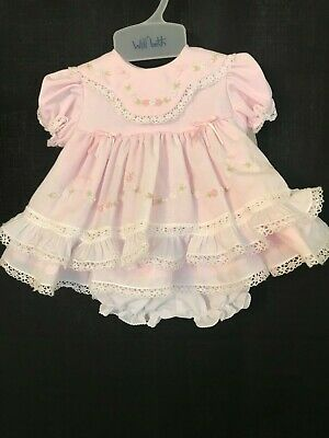 13bc14d16 NWT WILL'BETH WHITE with pink DRESS & BONNET TUCKS RIBBON EMBROIDERY ...