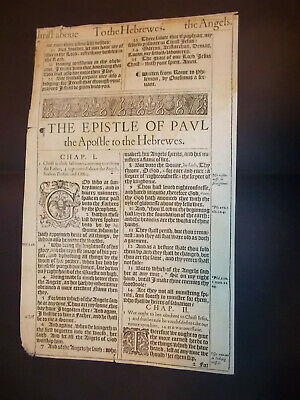 1611 King James Bible-2 Title Pages!-Hebrews and Philemon-1st Ed.-1st Printing
