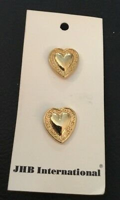 """2 Vintage 3/4"""" JHB Realistic Novelty Figural Gold Tone Metal Heart Buttons"""