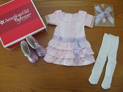 American Girl Doll Samantha's Frilly Frock Dress Boots Tights Complete Set  NEW