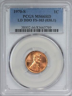 1970 S Large Date Double Die Obverse FS-103 Lincoln Cent PCGS MS66 Red