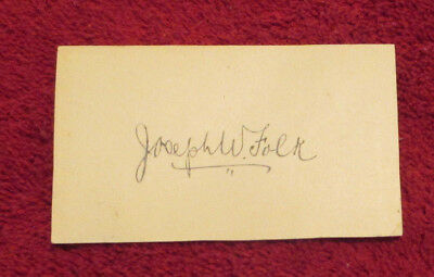 Calling Card SIGNED by Missouri Governor Joseph W. Folk (1905 - 1909) - Rare!