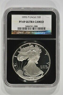 1995-P Proof American Silver Eagle $1 NGC PF69 Ultra Cameo 3684761-088