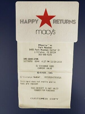 $448.36 Macy's Gift Card store credit