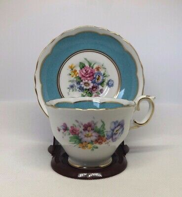 Crown Staffordshire England Blue Floral Bouquet Gold Decorated Tea Cup & Saucer