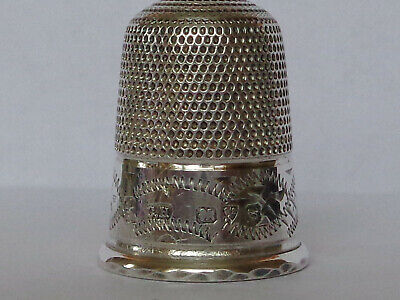 "Wonderful Large ""4"" Charles Horner Antique Silver Thimble Hallmark Chester 1917"
