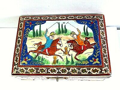 Raised Pretty Box Made In Siam Horse Players Playing Polo Vintage Red Velvet