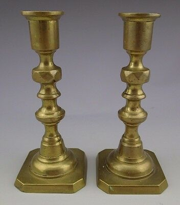 A Pair of Brass Candle Holders Candlestick 19th Century England