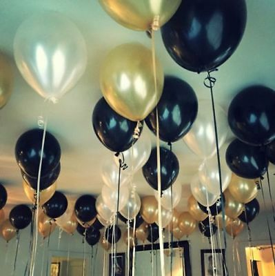 Black Gold White PARTY BALLOONS Ideal 18th 21st 30th 40th 50 Birthday X