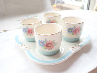 Pottery George Clews staffordshire tray of egg cups with daisy pattern 1950's