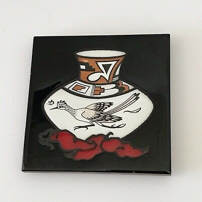 Cleo Teissedre Hand Painted Ceramic Tile Kiln Fired Pottery Coaster Trivet Decor