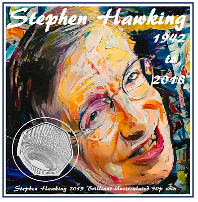 PRE-ORDER  NEW 2019  Stephen Hawking CERTIFIED Brilliant Uncirculated 50p coin.