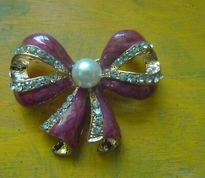 Vintage Enamel Brooch Pink Rhinestone Pearl Big-  Estate-2 post FREE