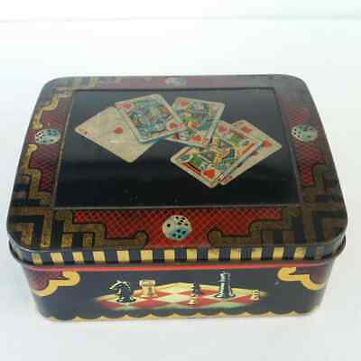 Vintage Tin Horner Toffee Sweet Gaming Playing Cards Dice Chess Collectable (e)