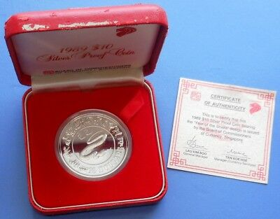 1989 Singapore Lunar Year Of Snake...$10...Silver (.925)..Proof...box/Coa #244