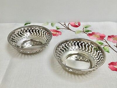 Pair of Antique Pierced Sterling Silver Dishes Chester 1912