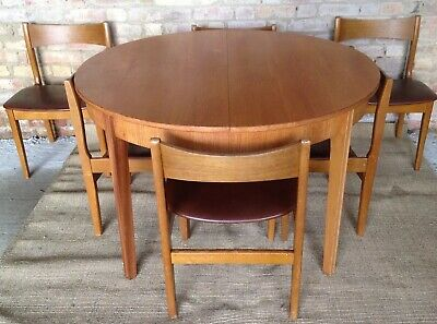Retro Teak Table And 6 Chairs Vintage Remploy Danish 1960's 70's G Plan Dining
