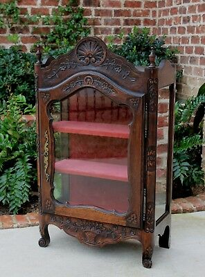 Antique French Country Oak Curio Display Cabinet Vitrine Cabinet Bookcase China