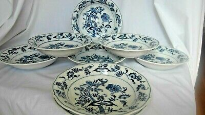 """Set Of Eight (8) Blue Danube Japan 7 1/2"""" Coupe Soup Cereal Bowls Rectangle Mark"""