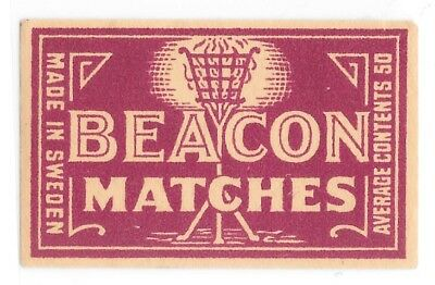 Old Vintage Matchbox Label Beacon Matches Sweden Fire Standing Torch Red On Tan