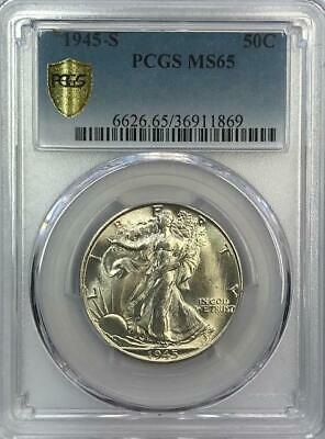 PCGS MS65 1945-S Walking Liberty Half Dollar.! GEM BU.! NR.!