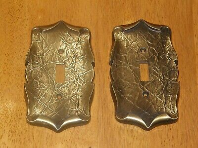 2 Vintage Brass Amerock Carriage House Single Toggle Light Switch Cover Plates