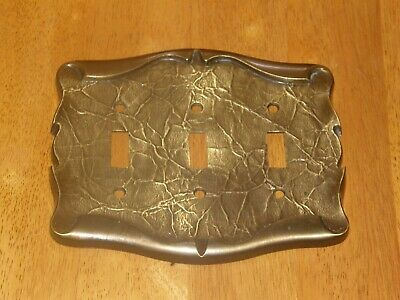Vintage Brass Amerock Carriage House Triple Toggle Light Switch Cover Plate
