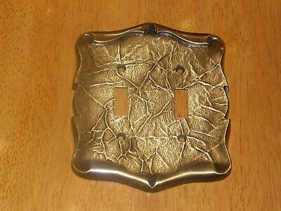 Vintage Brass Amerock Carriage House Double Toggle Light Switch Cover Plate